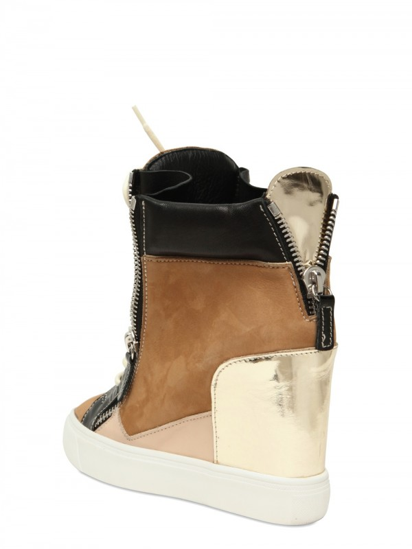 Lyst Giuseppe Zanotti 90mm Suede And Leather Sneaker Wedges