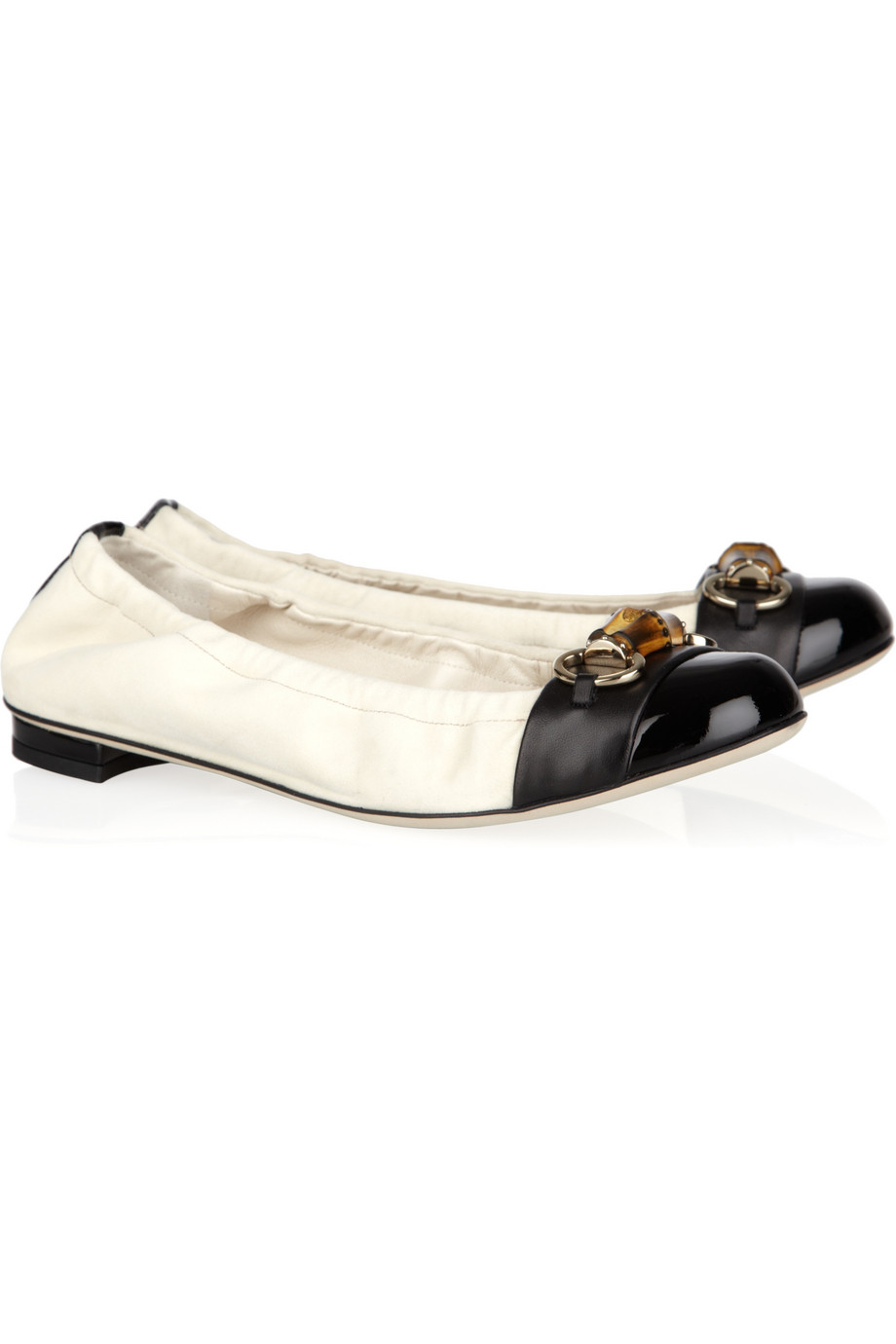 gucci suede and leather ballet flats in black white lyst. Black Bedroom Furniture Sets. Home Design Ideas