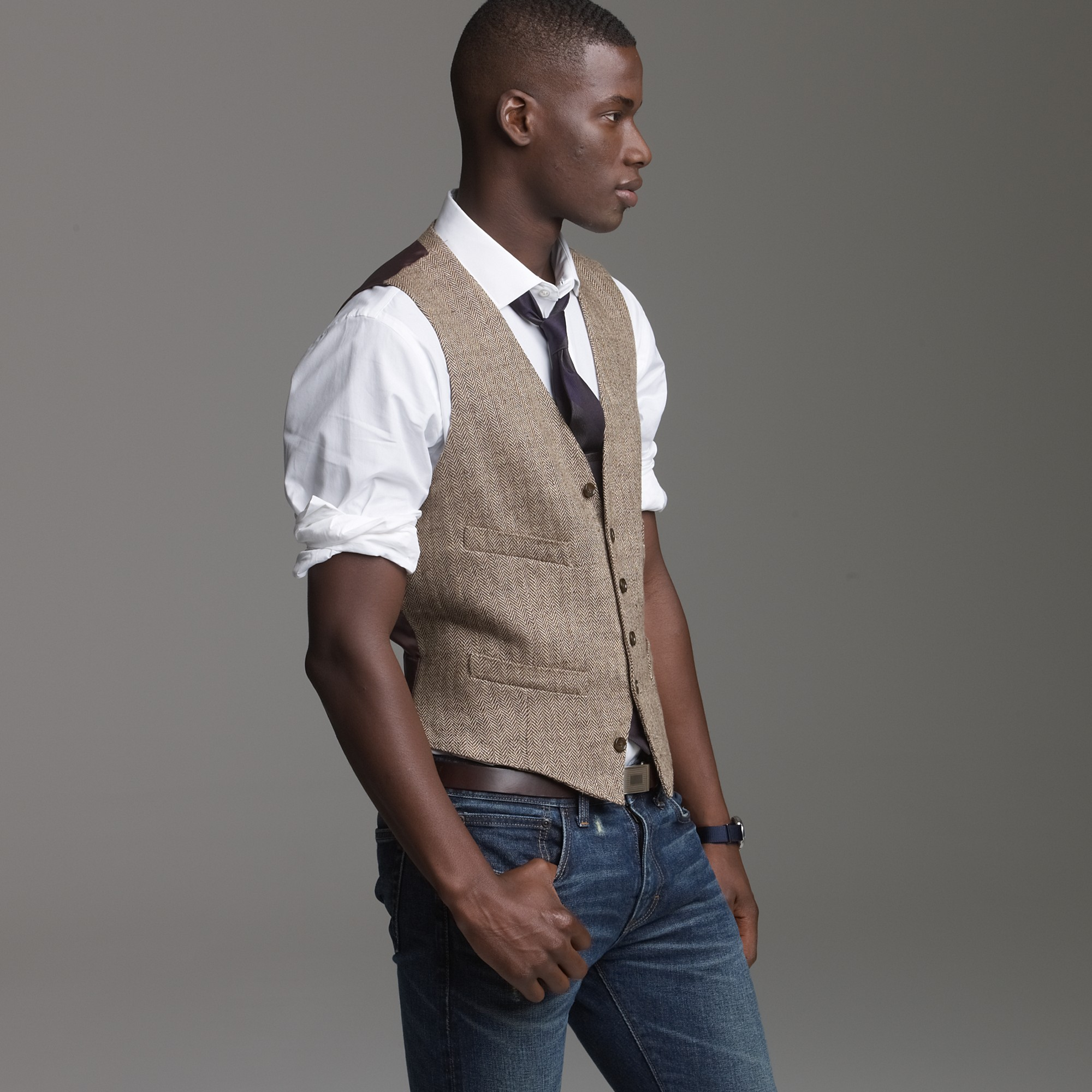 Brown Vest White Dress Shirt Men