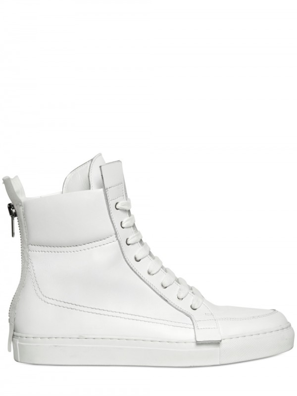 186eef8900 Lyst - Kris Van Assche Back Zip Calfskin Sneakers in White for Men