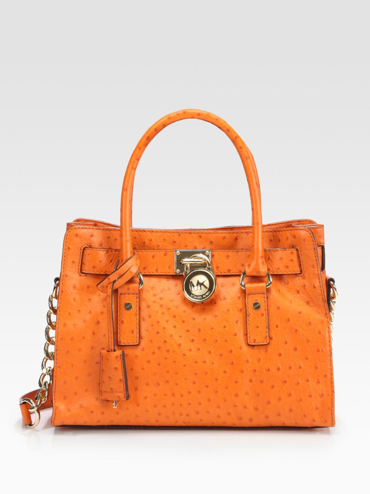 1da0a7326263 Lyst - MICHAEL Michael Kors Hamilton Ostrich-Stamped Leather Satchel ...