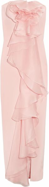 Notte By Marchesa Washed-silk and Silk-organza Strapless Gown in Pink