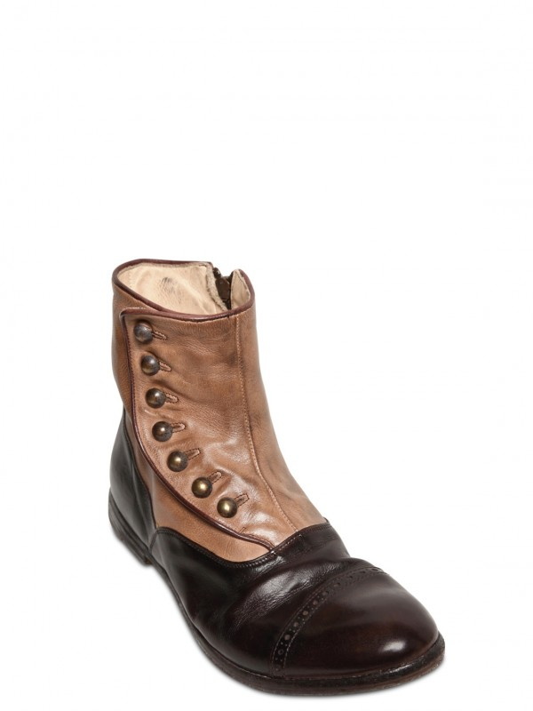 Officine Creative 20mm Leather Button Up Low Boots In