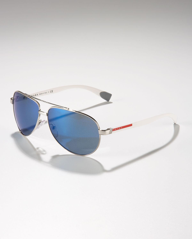 Prada Aviator Sunglasses In Metallic For Men Lyst