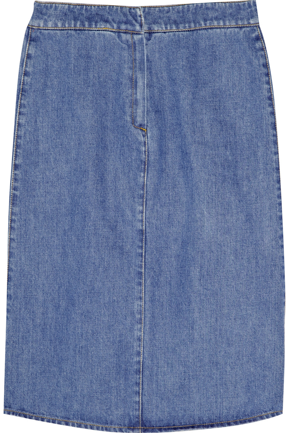 stella mccartney mid length denim skirt in blue lyst