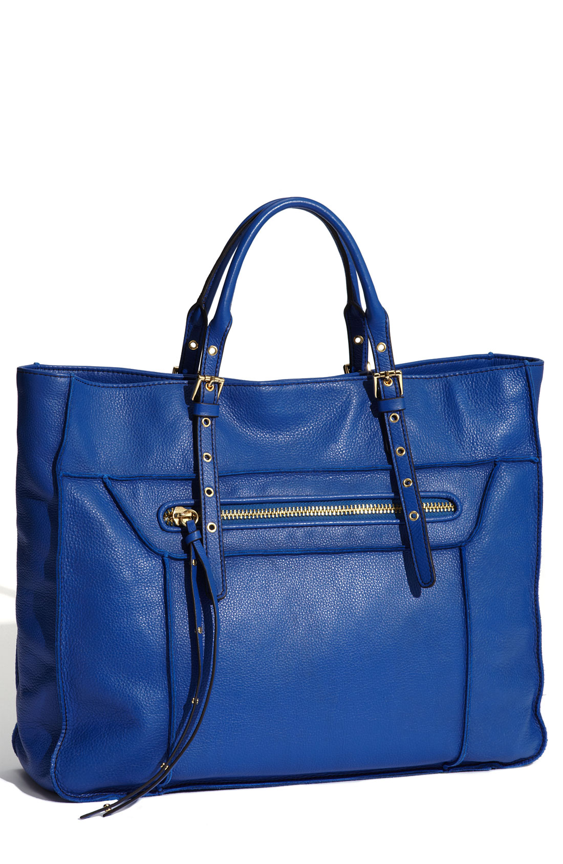 steven by steve madden france leather tote in blue blueberry lyst. Black Bedroom Furniture Sets. Home Design Ideas
