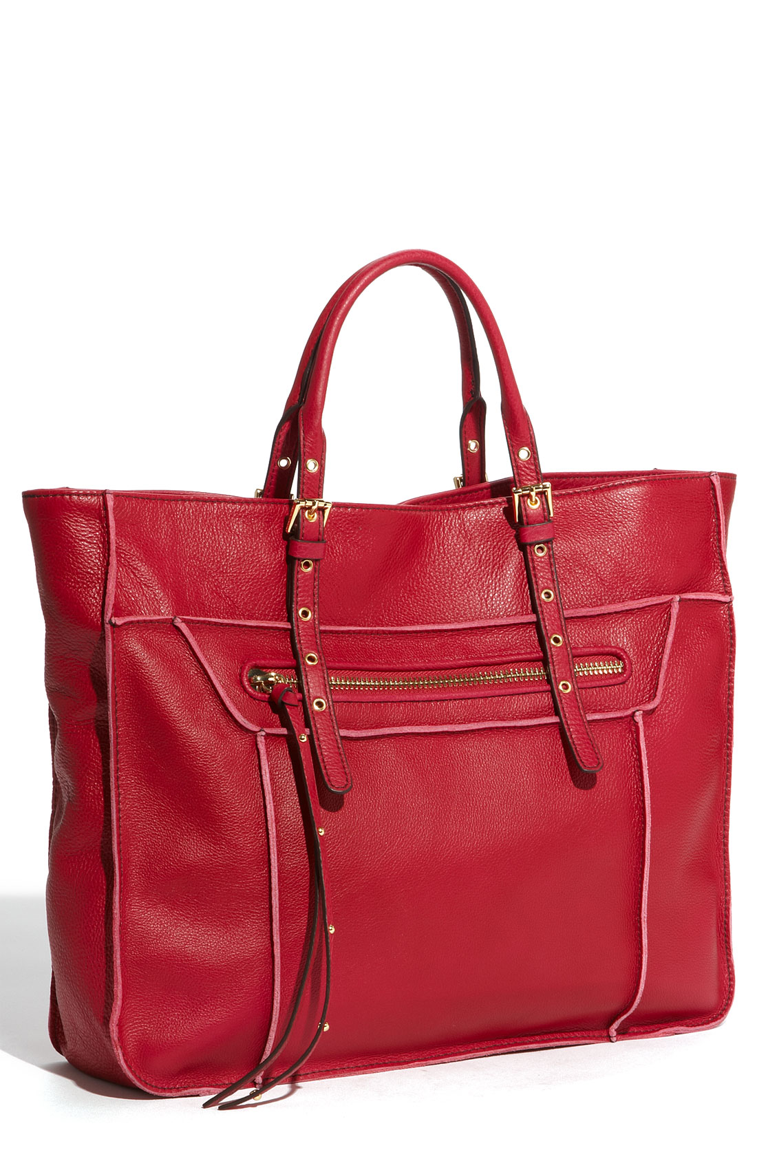 steven by steve madden france leather tote in red raspberry lyst. Black Bedroom Furniture Sets. Home Design Ideas