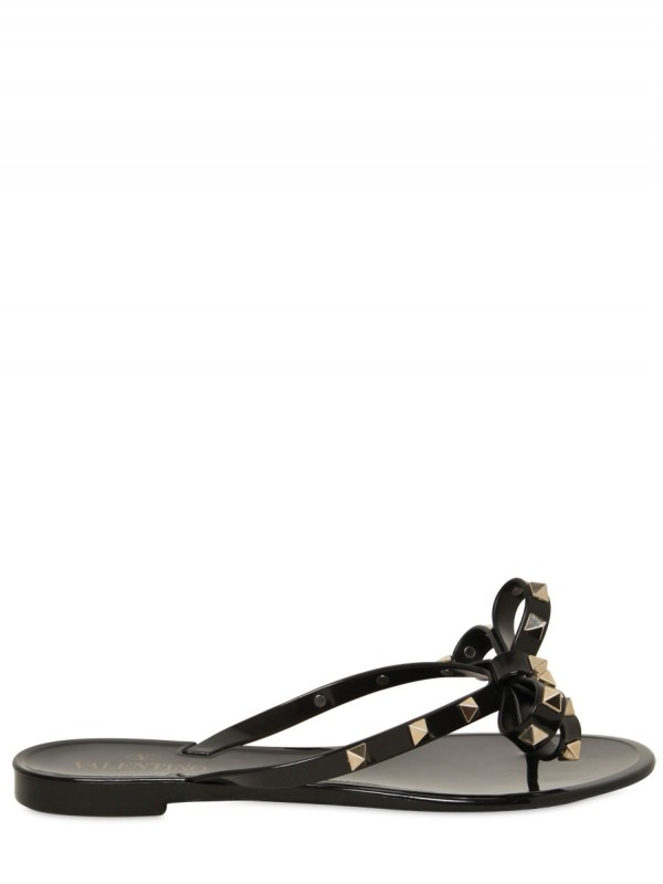 Lyst - Valentino Rubber Bow Studs Flip Flop Flats In Black-8705