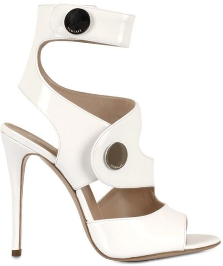 Versace 120mm Cut Out Patent Sandals in White