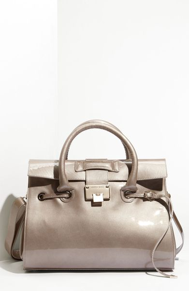 Jimmy Choo Rosalie Patent Leather Satchel in Khaki (light khaki)