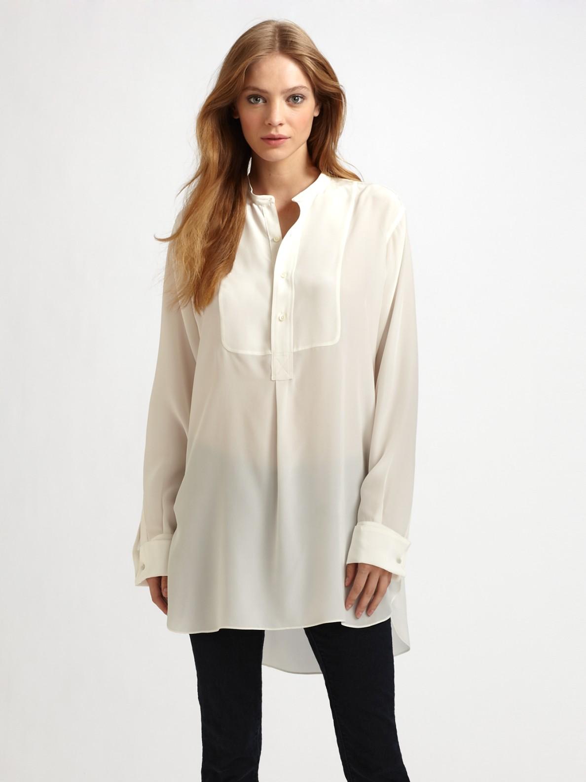 Joseph Oversized semi-sheer silk blouse in White