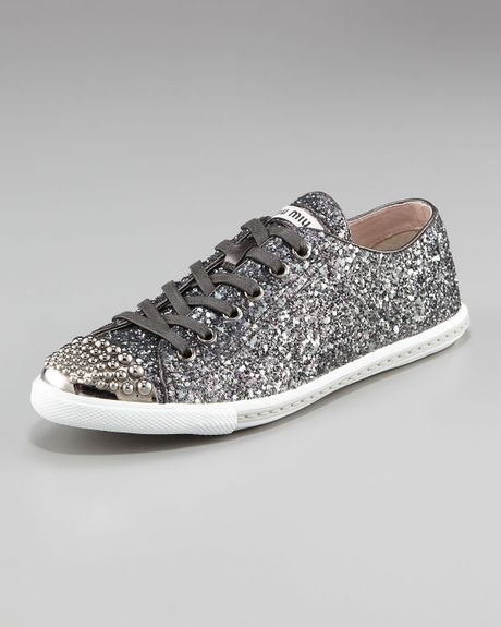 miu miu glitter sneaker in gray anthracite lyst. Black Bedroom Furniture Sets. Home Design Ideas