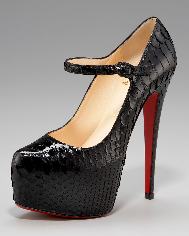christian louboutin black mary jane shoes