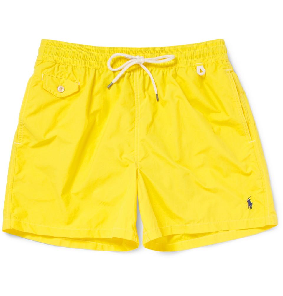769f9890ae103 ... shop lyst polo ralph lauren drawstring swim shorts in yellow for men  e8ae1 e89af
