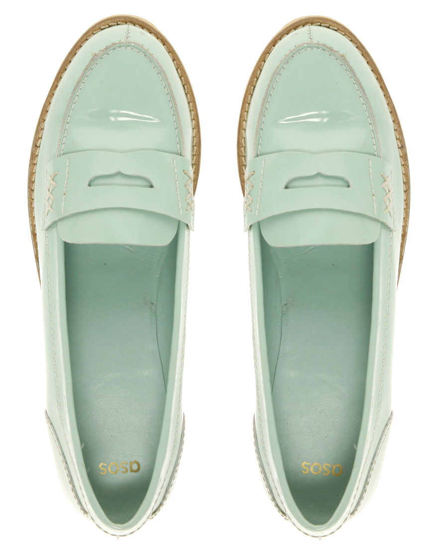 asos asos macabee patent loafer in green lyst