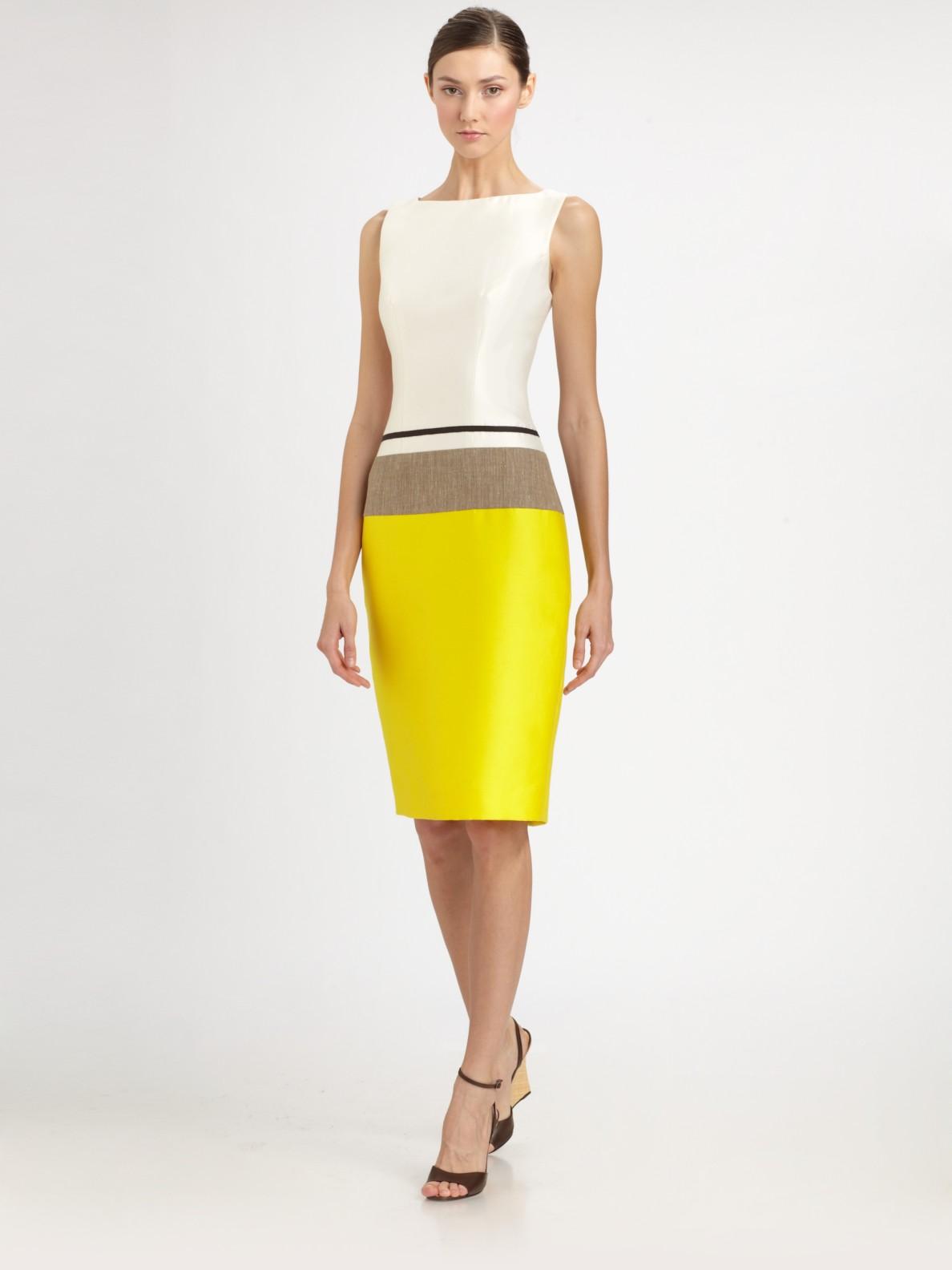 Lyst Carolina Herrera Colorblock Dress In White