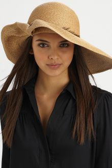 Eugenia Kim Catherine Ruched Pheasant Feather Straw Sunhat