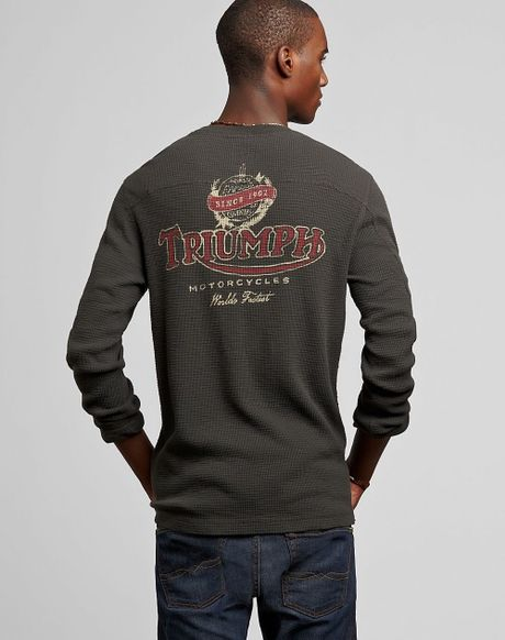 Lucky Brand Triumph Motorcycles Thermal In Gray For Men