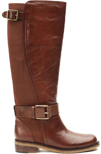Lucky Brand Aida Leather Riding Boots In Brown Sequoia