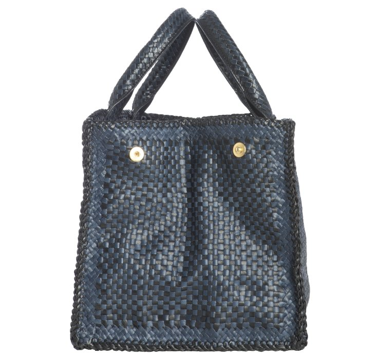 Prada Baltic and Black Woven Leather Madras Squared Tote in Blue ... - Prada briefcase baltic blue