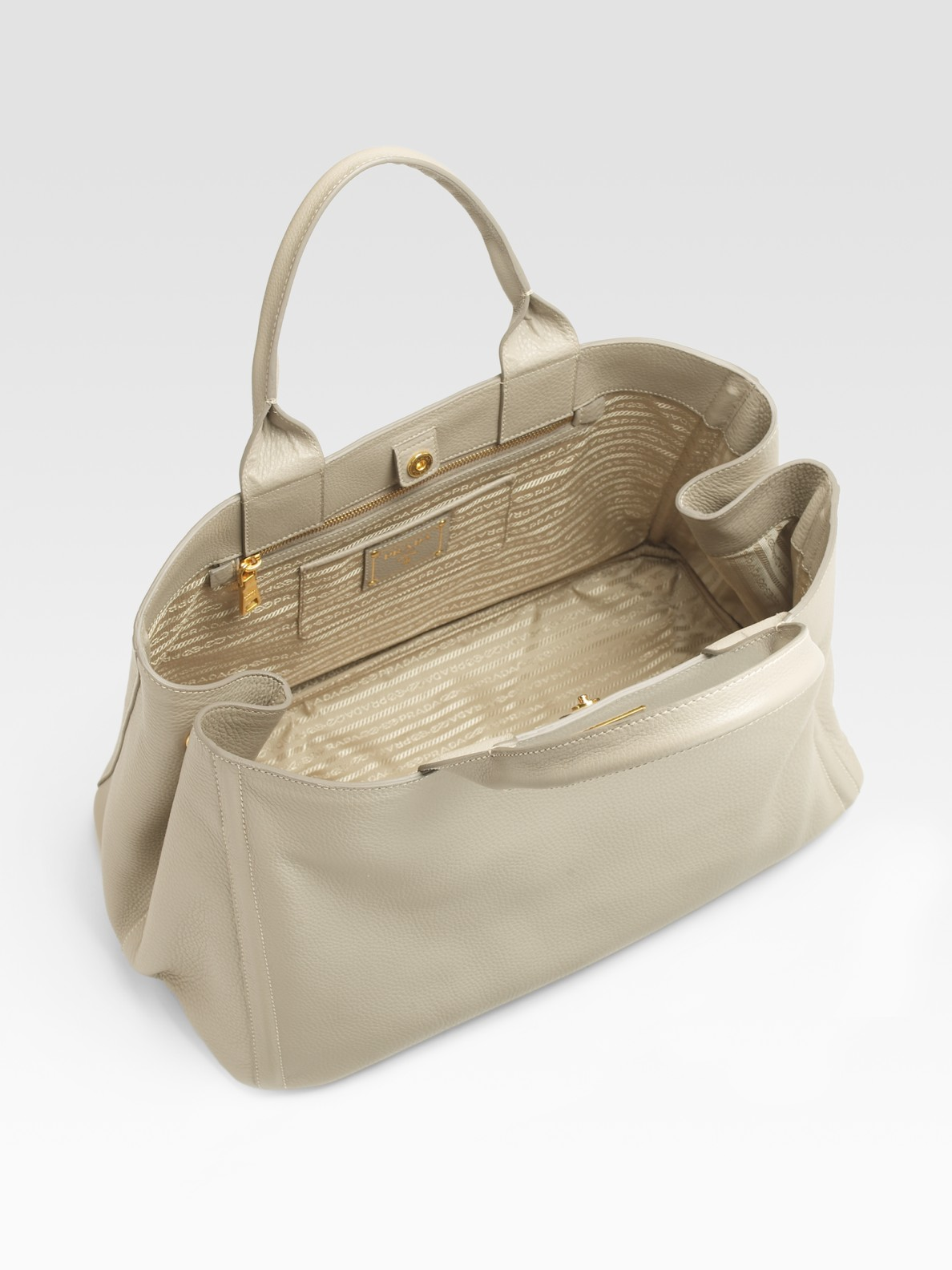 prada suede bags - Prada Vitello Daino East/west Tote Bag in Gray (grey) | Lyst