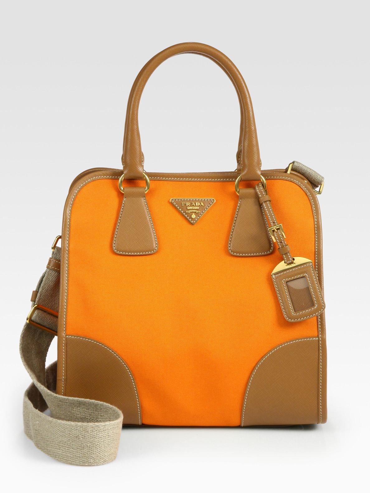 daf502a8f5f675 Prada Saffiano Leather & Canvas Tote Bag in Orange - Lyst