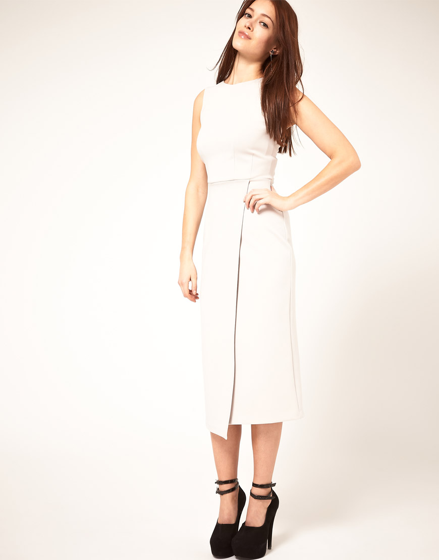 03e67c1652 ASOS Collection Midi Pencil Dress With Wrap Skirt in White - Lyst