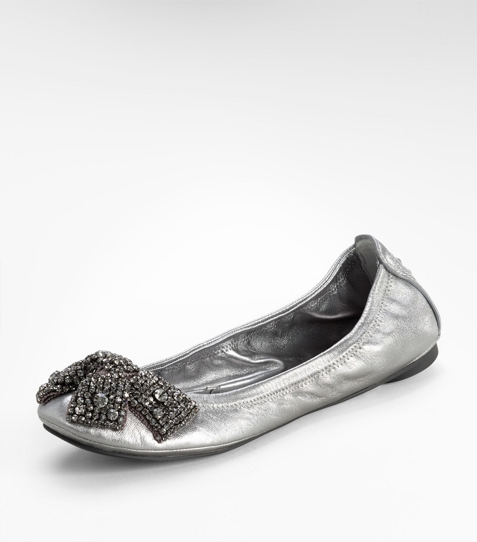 c91a53e4e8c Lyst - Tory Burch Metallic Eddie Ballet Flat with Crystal Bow in ...
