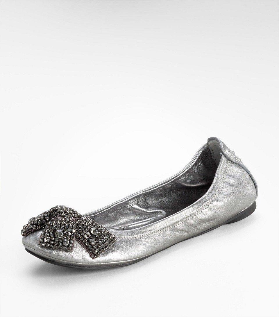 b172e6325985 Tory Burch Metallic Eddie Ballet Flat with Crystal Bow in Metallic ...