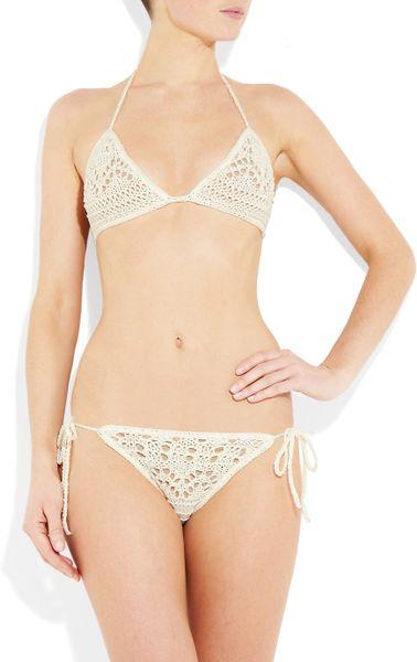 Emilio Pucci Crochet-knit Cotton Triangle Bikini in White Lyst