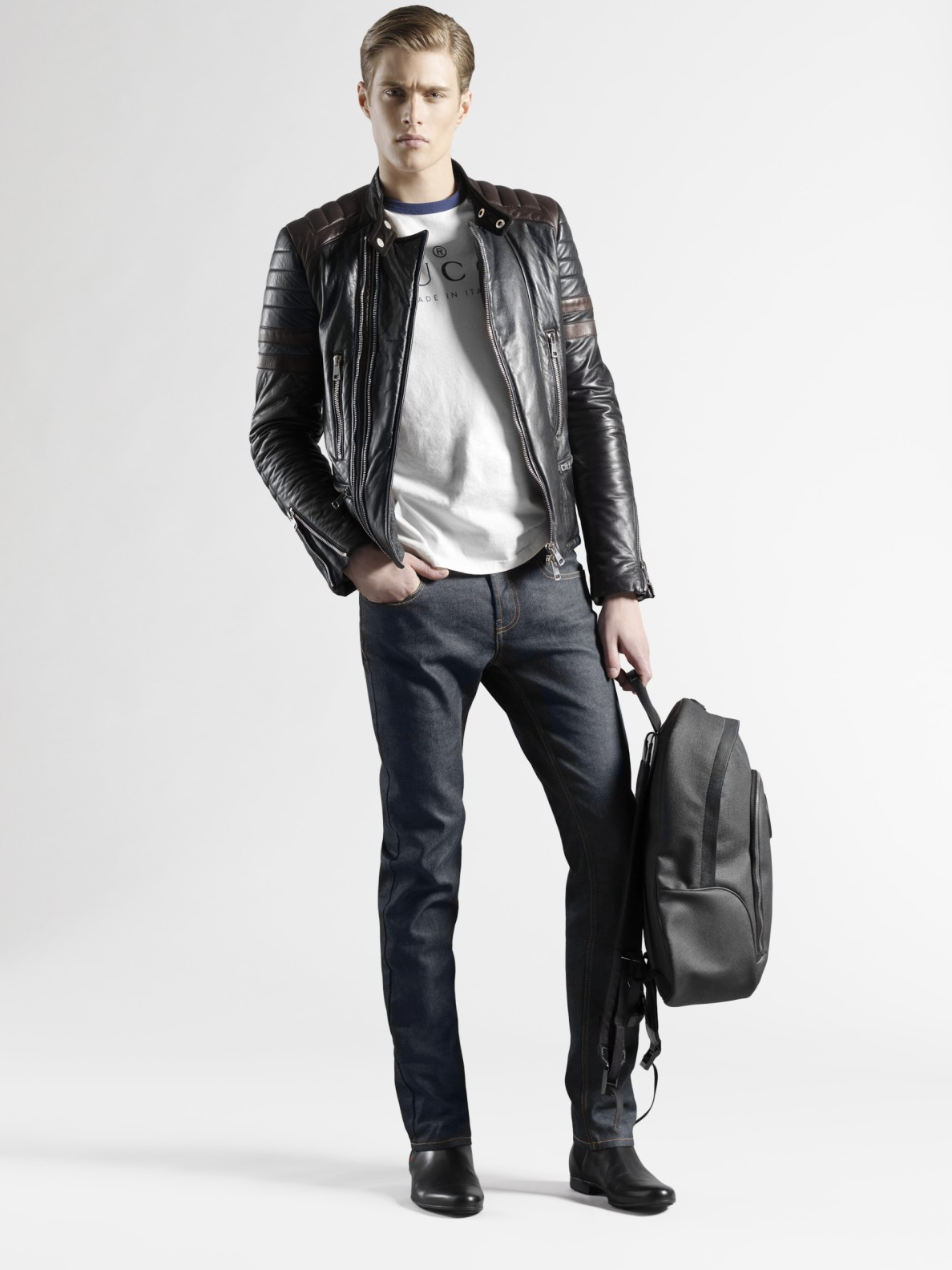 Gucci Leather Biker Jacket in Black for Men   Lyst