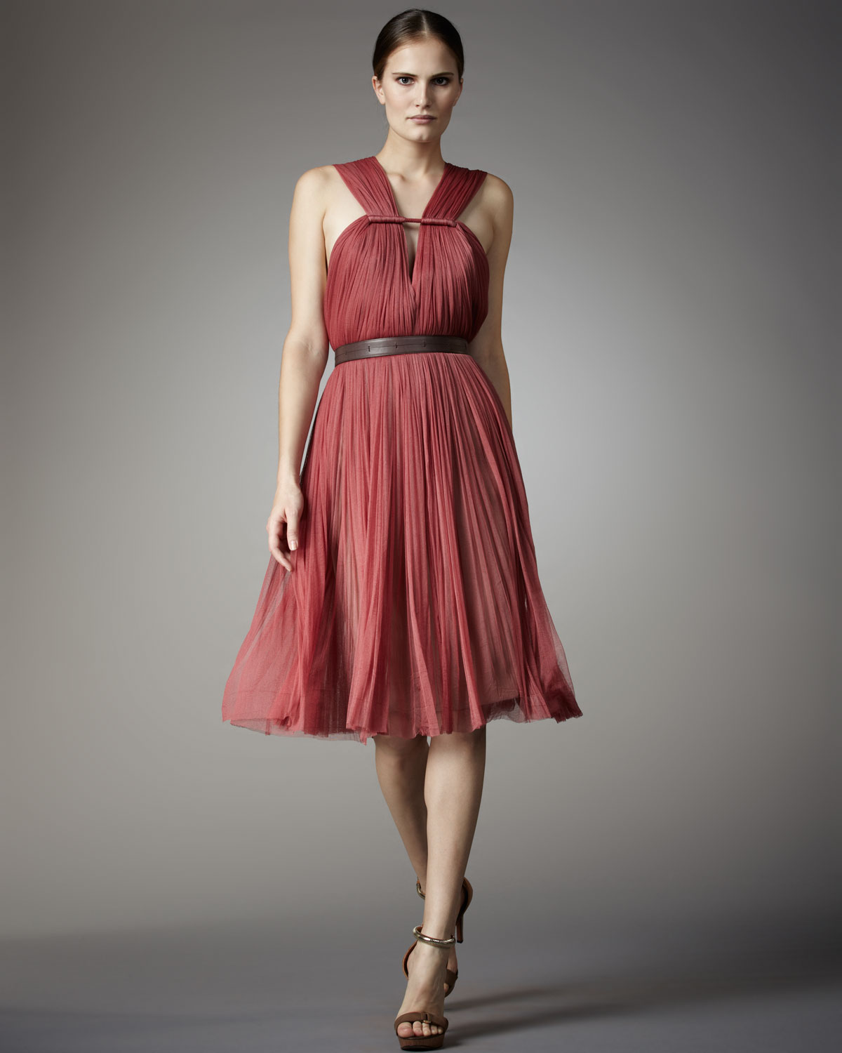 Lyst Lanvin Pleated Tulle Dress In Pink