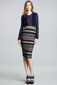 Burberry Prorsum Structured Contrast Stripe Skirt - Lyst