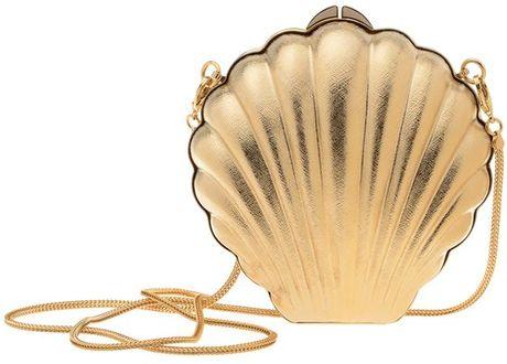 Lanvin Art Deco Brass Shell Clutch in Gold