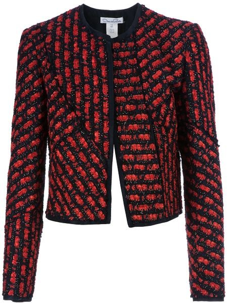 Oscar De La Renta Cropped Jacket in Red
