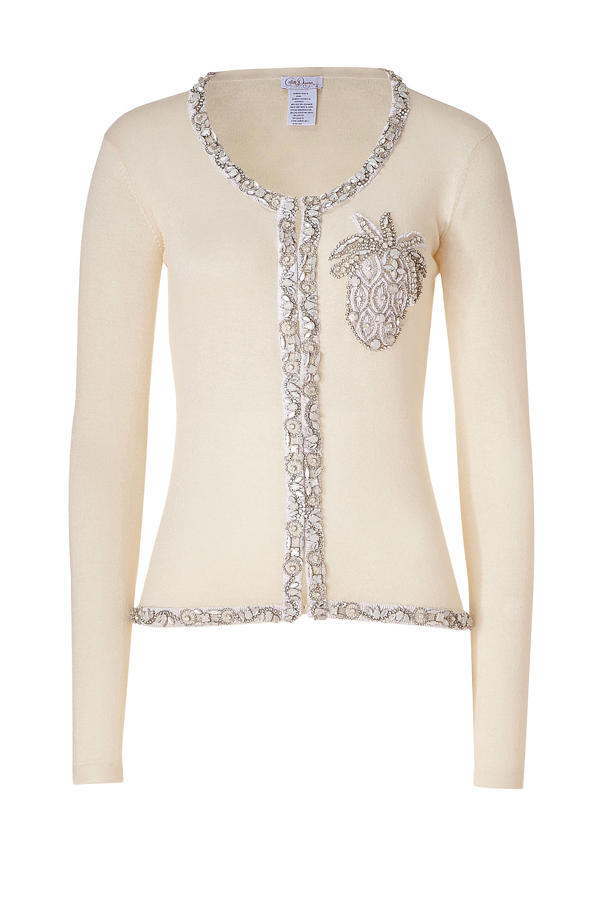 Collette dinnigan Ivory Pineapple Beaded Cardigan in White | Lyst