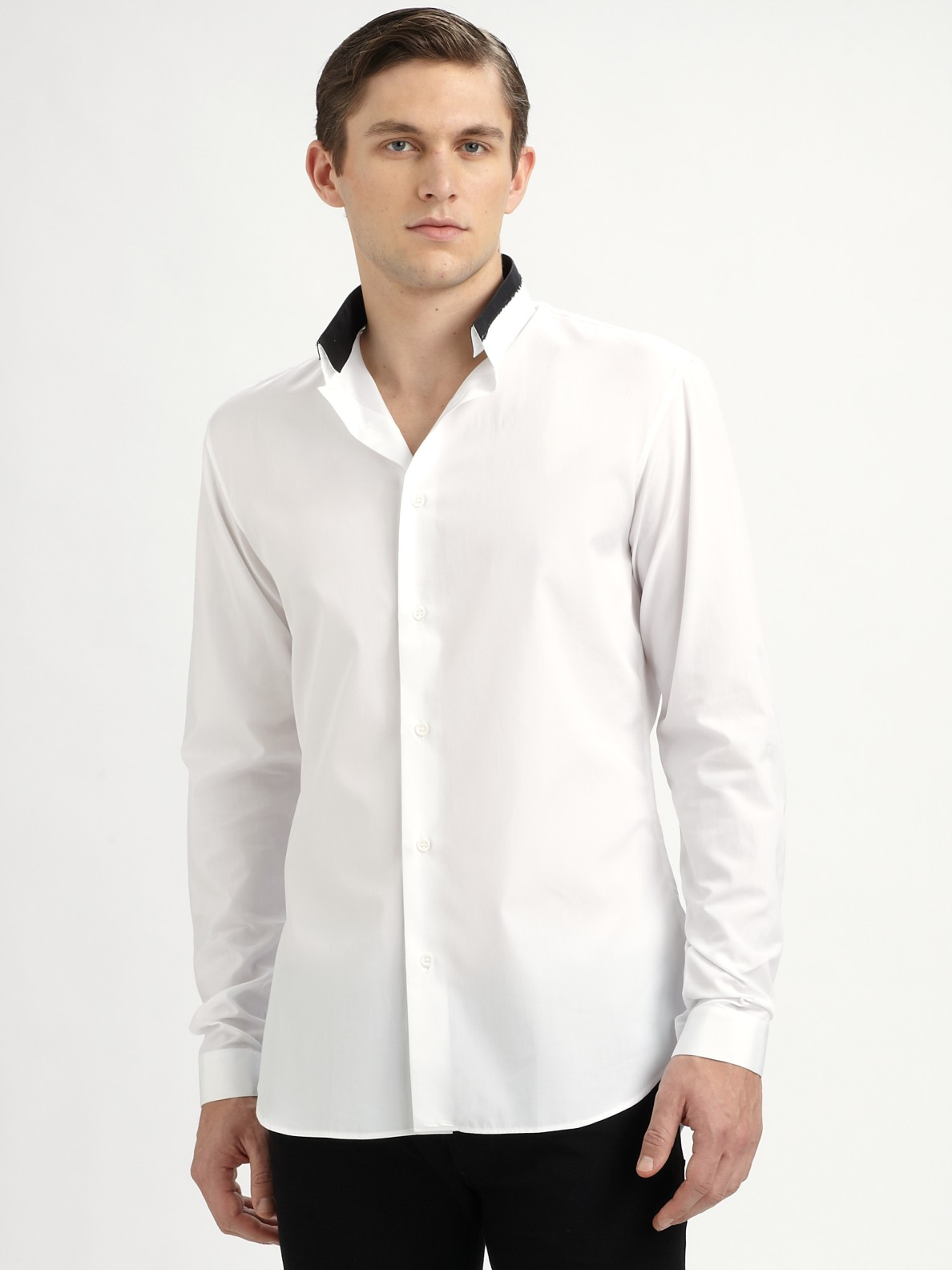 Lyst Dior Homme Reverse Collar Shirt In White For Men