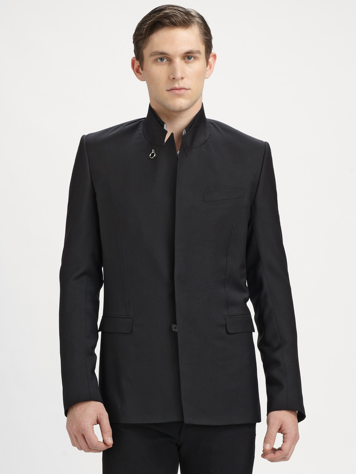 Dior homme Stand-collar Wool Coat in Black for Men | Lyst