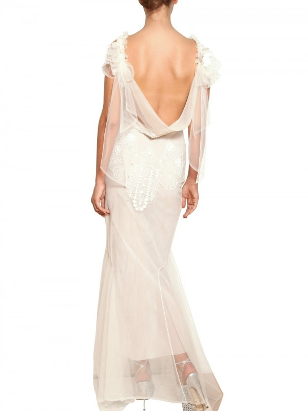 Lyst - John Galliano Embroidered Tulle Long Dress in White