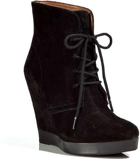kors by michael kors black suede wedge ankle boots in