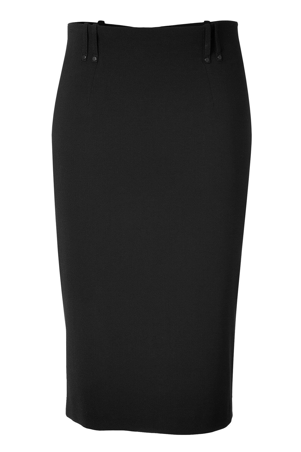 plein sud black pencil skirt with leather back trim in