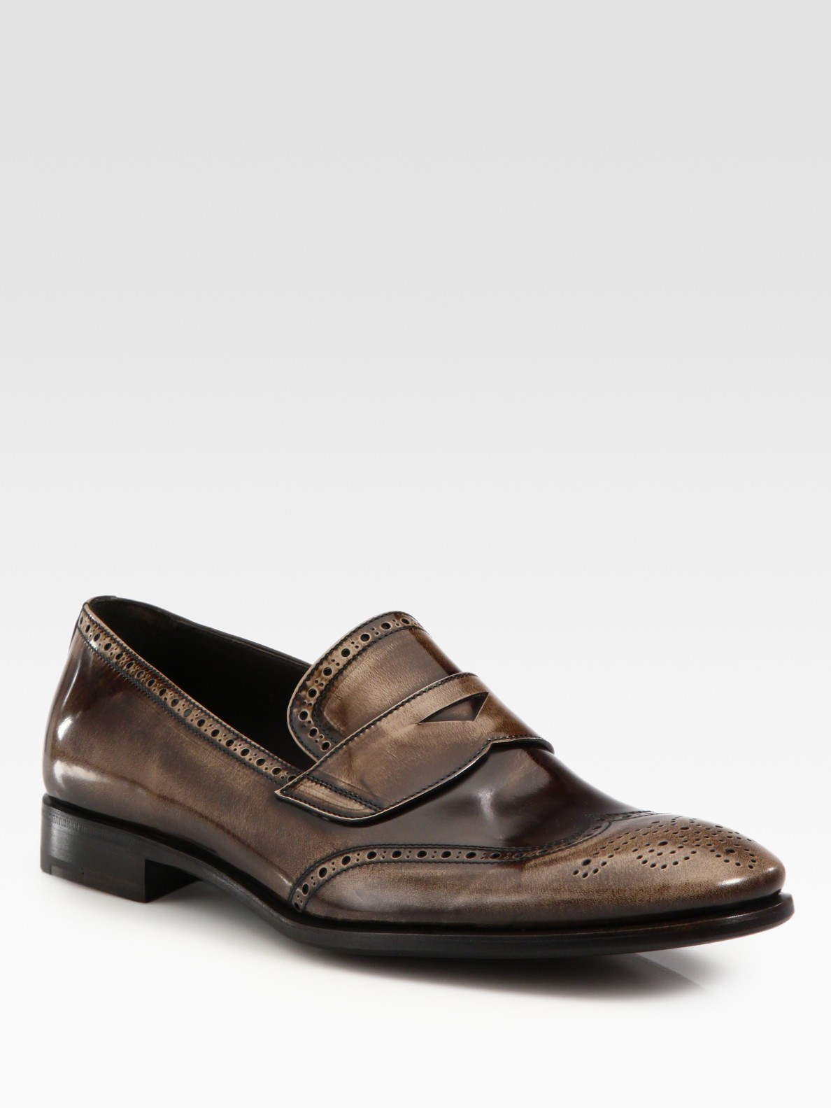 Prada Leather Loafers in Brown for Men
