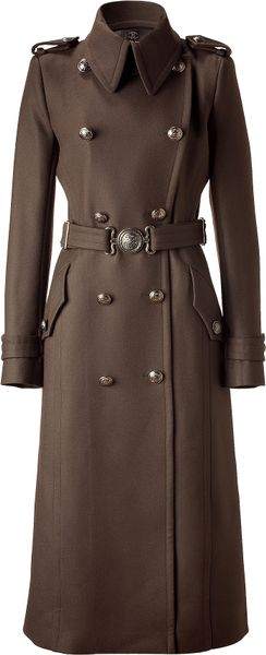 Roberto Cavalli Brown Double Breasted Long Coat with Belt in Brown