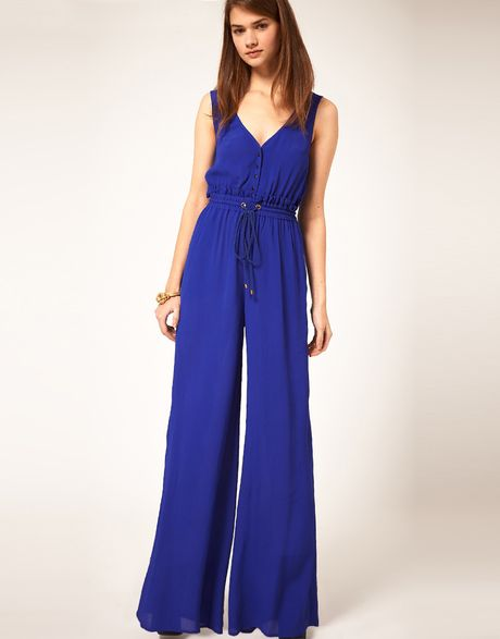 Asos Collection Jumpsuit With Rope Tie in Blue
