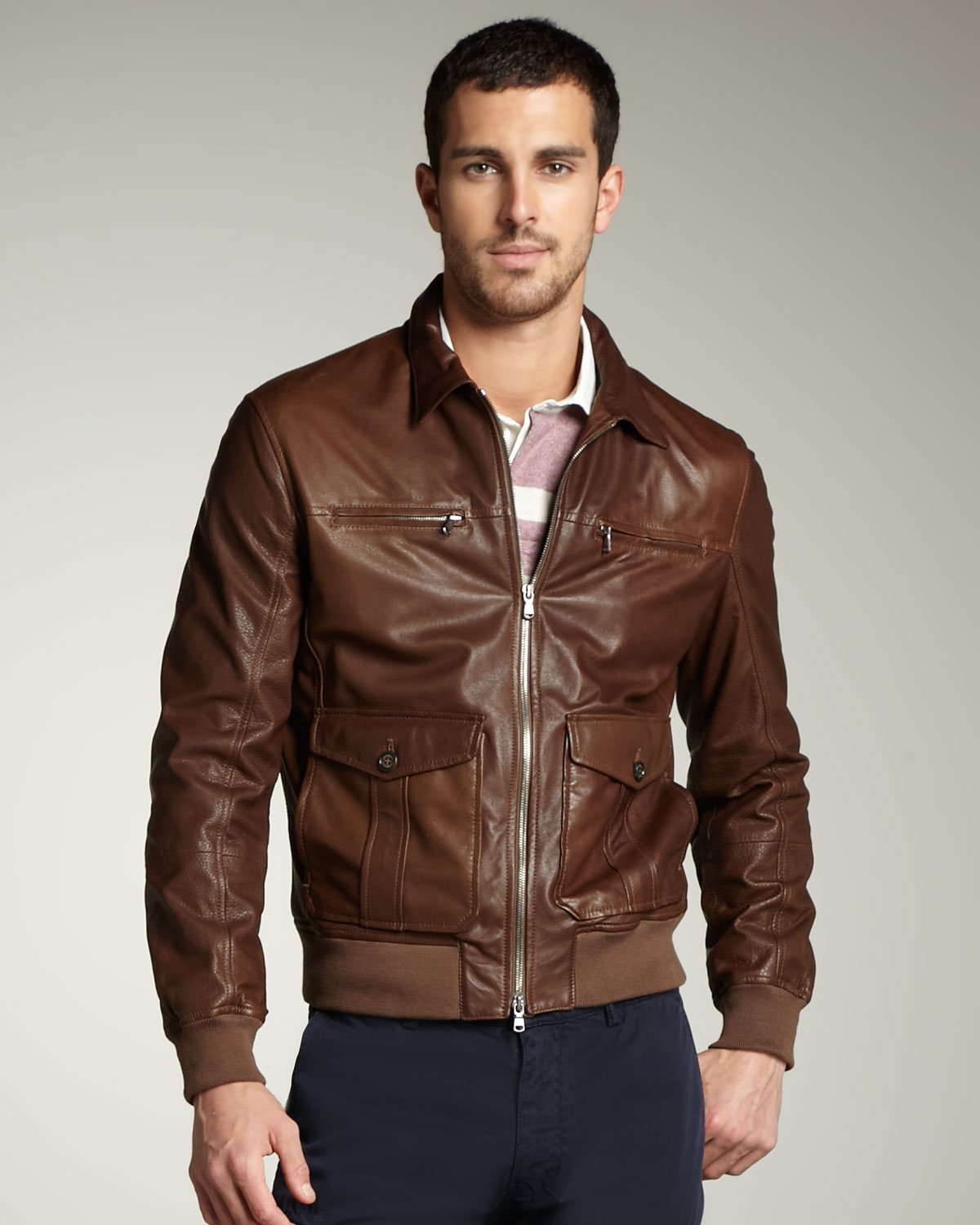 Brown leather bomber jackets for men