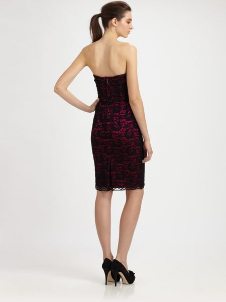 Dolce Amp Gabbana Strapless Lace Dress In Purple Fuchsia