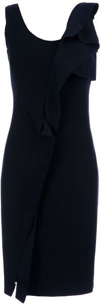 Oscar De La Renta Ruffle Detail Dress in Blue (navy)