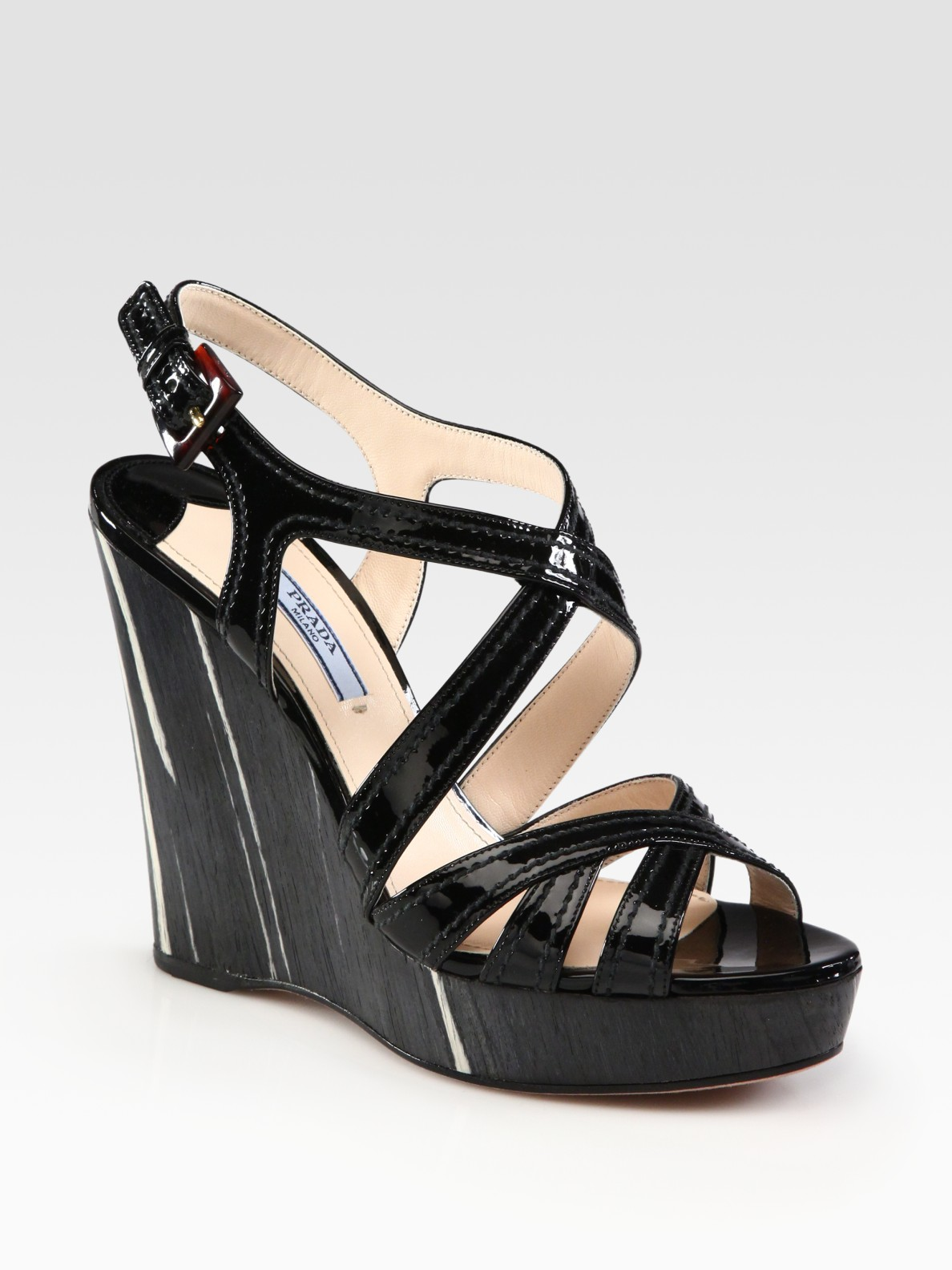 Prada Patent Leather And Wood Criss-cross Wedge Sandals In
