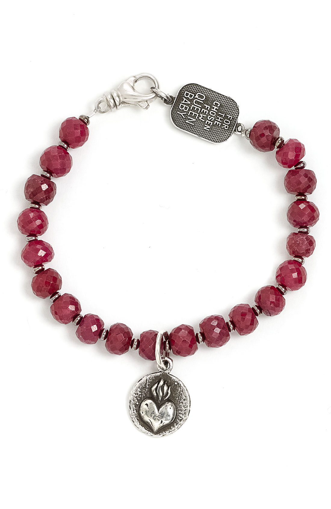 queen baby heart coin faceted ruby bracelet in silver
