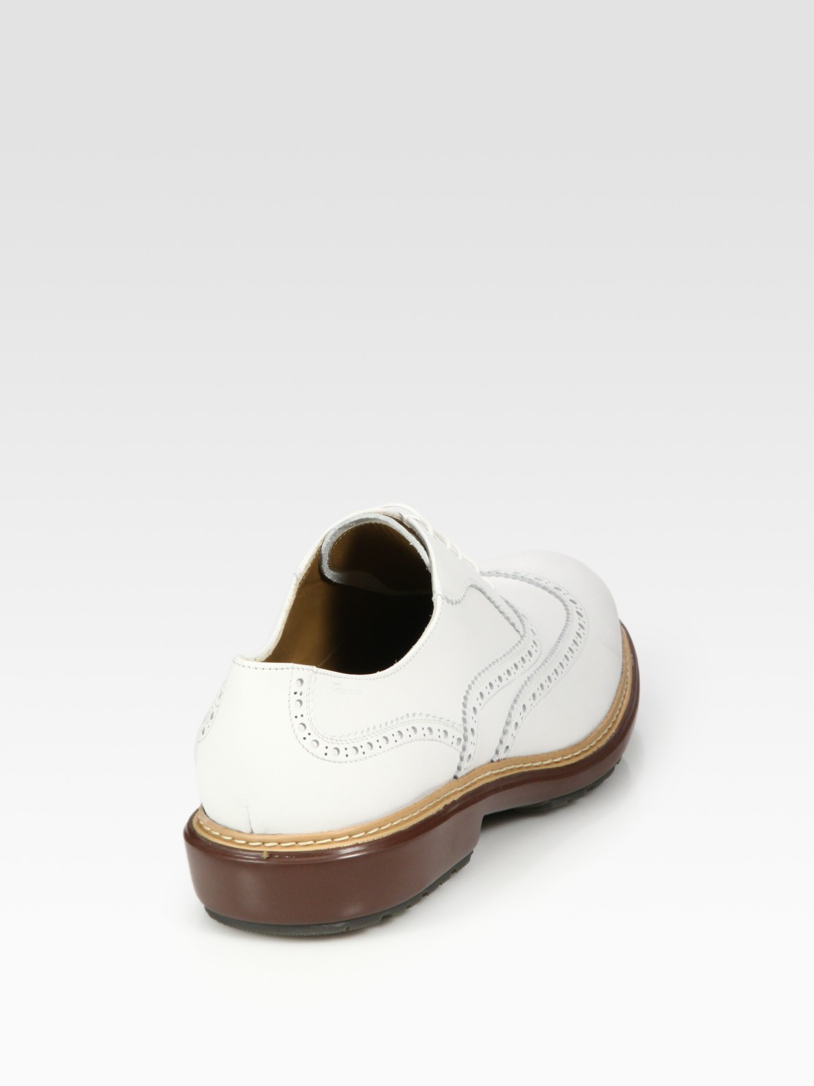 ferragamo borg lug sole brogue in white for lyst